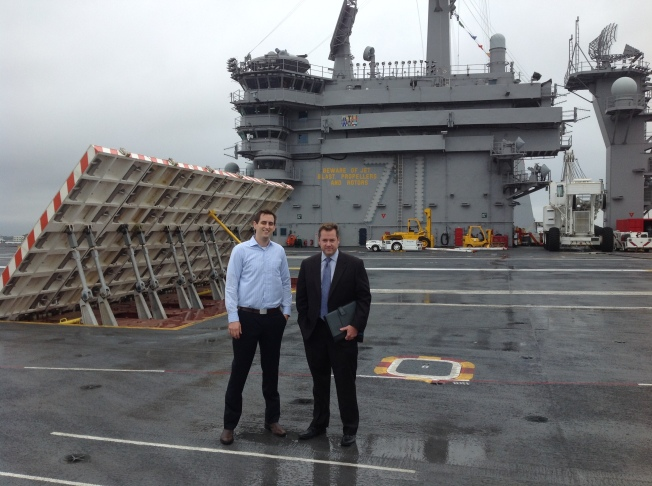Myself and Mitch Todd (Sr. Software Architect for NST) touring aircraft carrier USS Theodore Roosevelt in Norfolk VA.