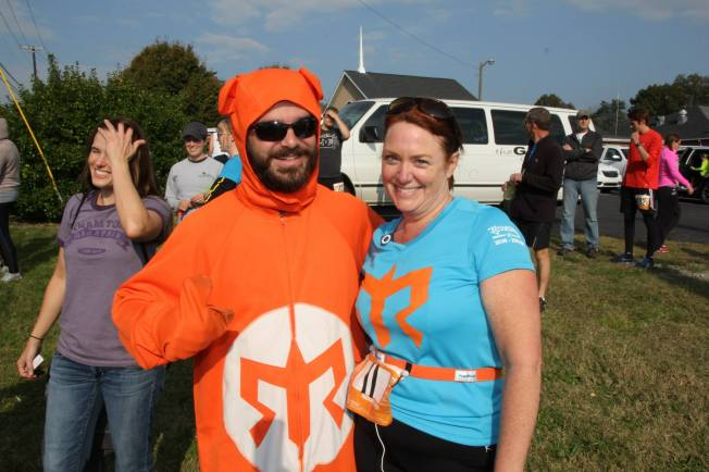 Susan Whitehead with the Ragnar Bear