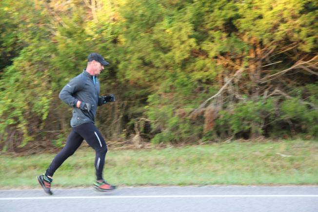 Tim Shelton running his last leg